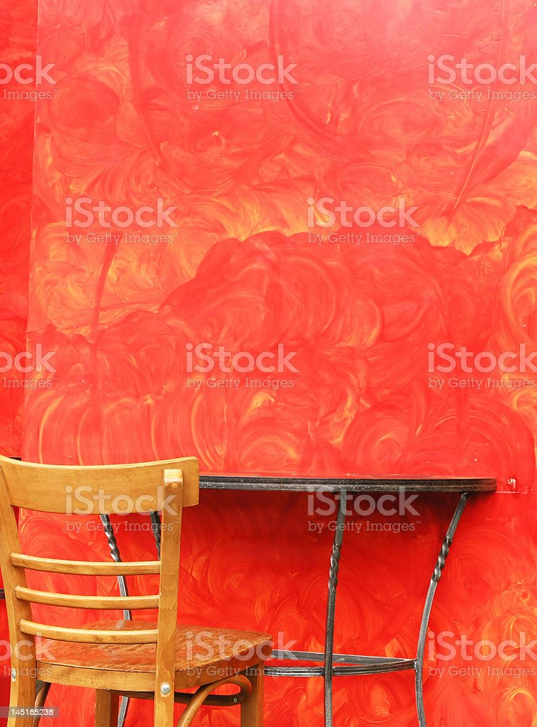 Chic Table with Red Wall royalty-free stock photo