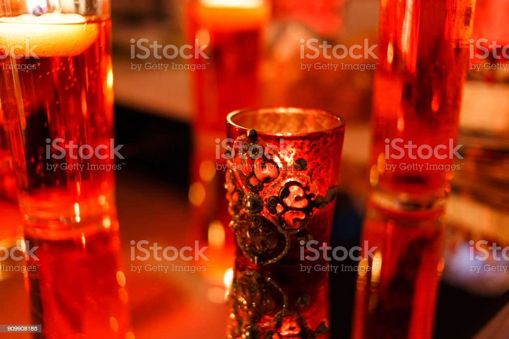Chic Wedding Decorations with Candles stock photo
