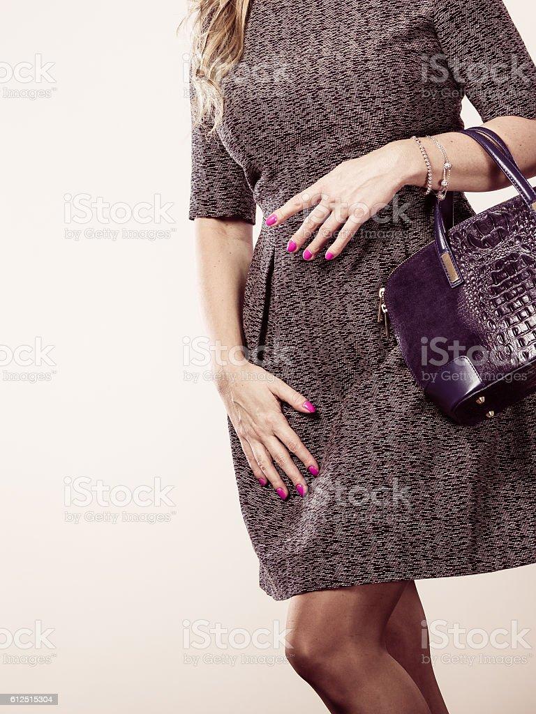 Chic woman with handbag. stock photo