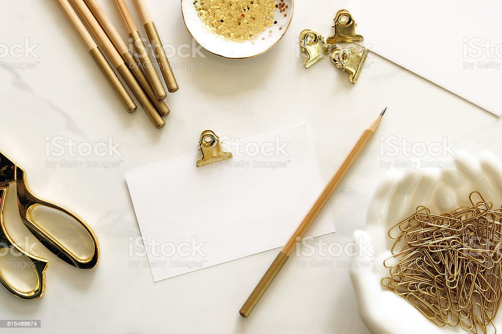 Chic work space stock photo
