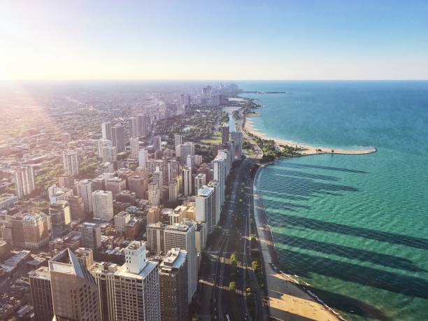 chicago aerial city view north beach - lake michigan stock pictures, royalty-free photos & images