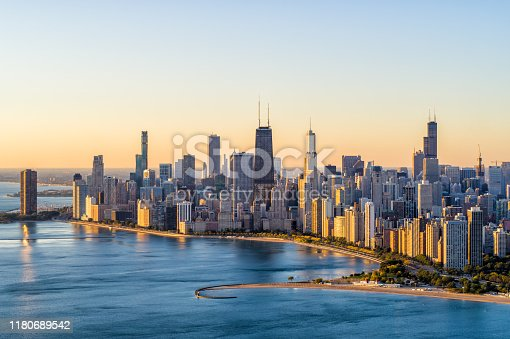 Aerial View of Chicago Lake Shore Dr at sunrise in Autumn - October 2019