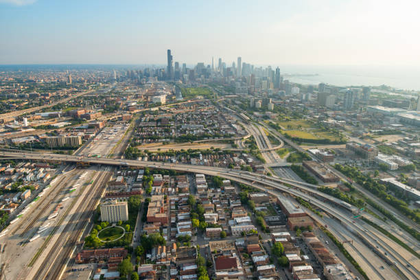 chicago aerial - south stock photos and pictures