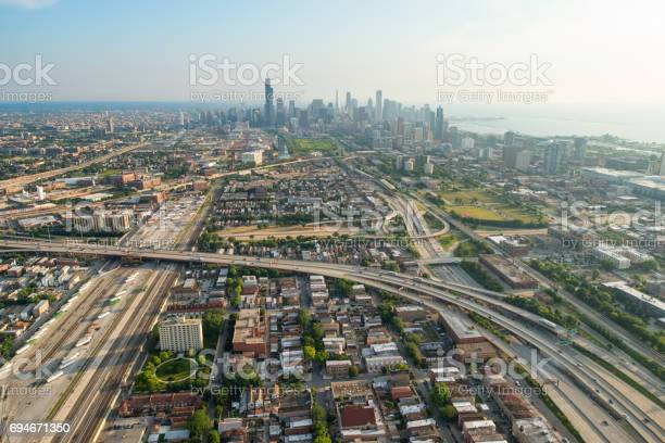 Aerial view of Chicago, Illinois from the south.