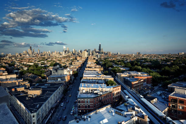 Chicago aerial skyline from the northwest side with dramatic sky and clouds. stock photo