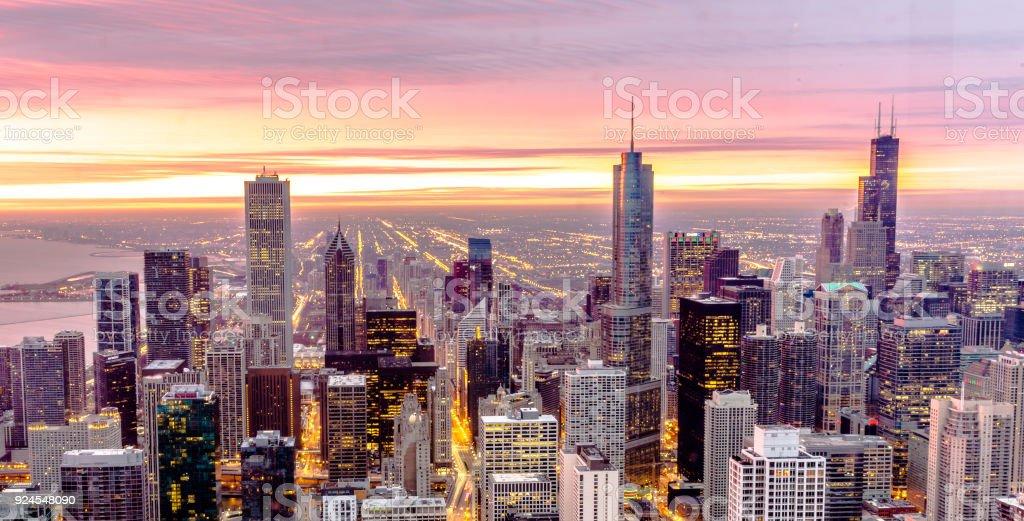 Chicago Aerial Skyline stock photo