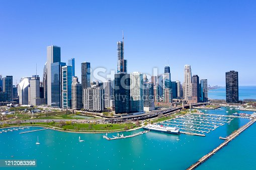 Chicago skyline with the Chicago harbour and Lake Michigan in the foreground, aerial view.