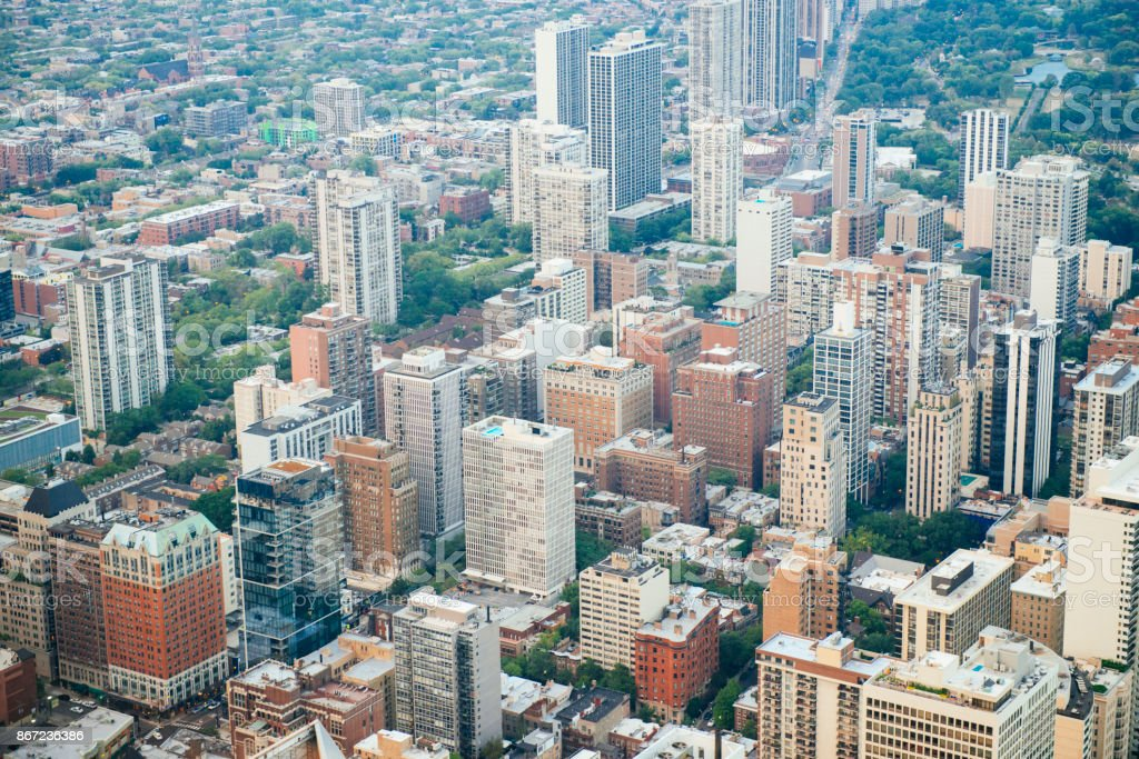 Chicago Aerial View of Buildings in Urban Midwest USA stock photo