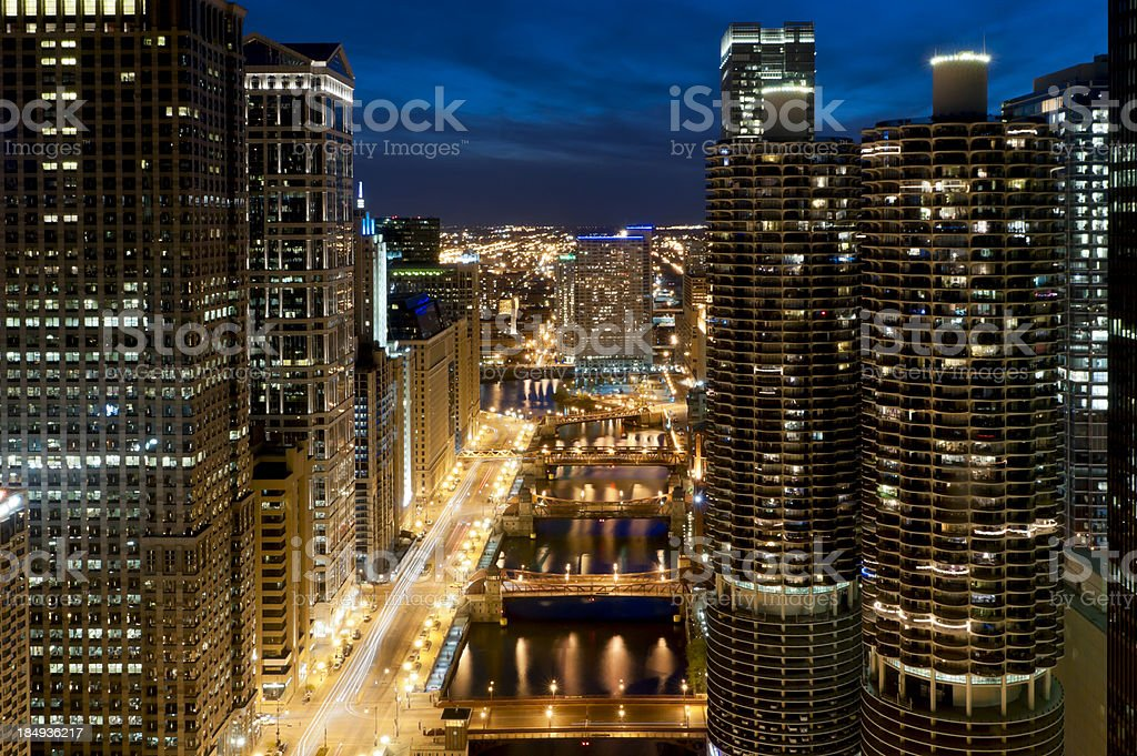 Chicago - Aerial View of Downtown and River at Dusk stock photo