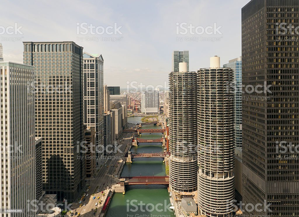 Chicago - Aerial View of Downtown and River stock photo