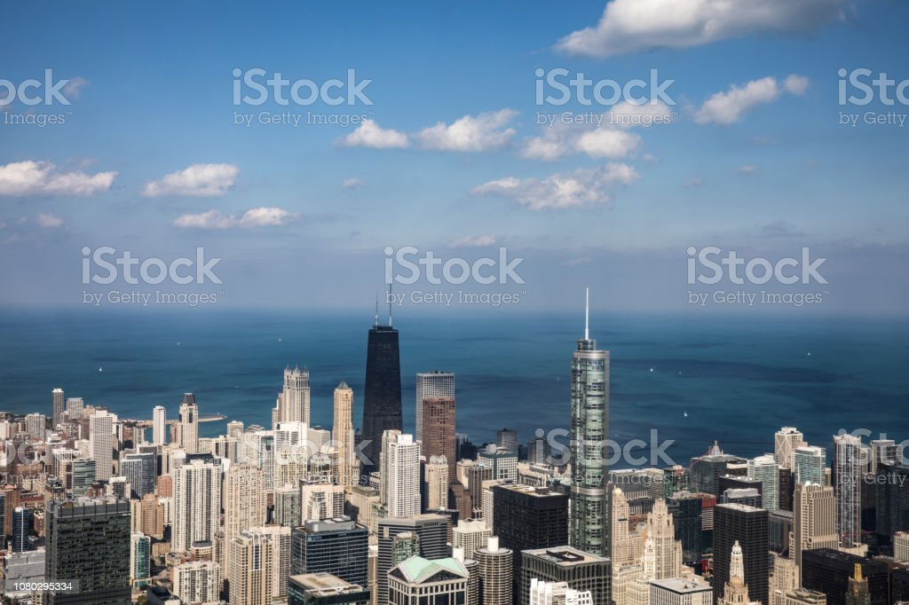 Chicago aerial view of the financial district at daylight stock photo