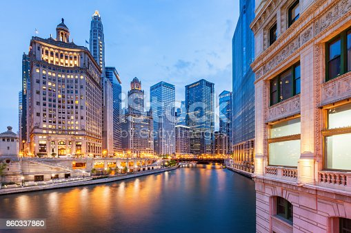 Stock photograph of the Cityscape of Chicago, The Loop area office buildings and the Chicago River.