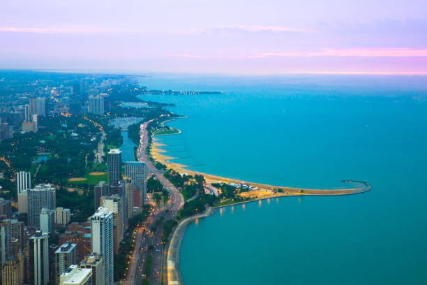 chicago and lake michigan - lakeshore stock photos and pictures