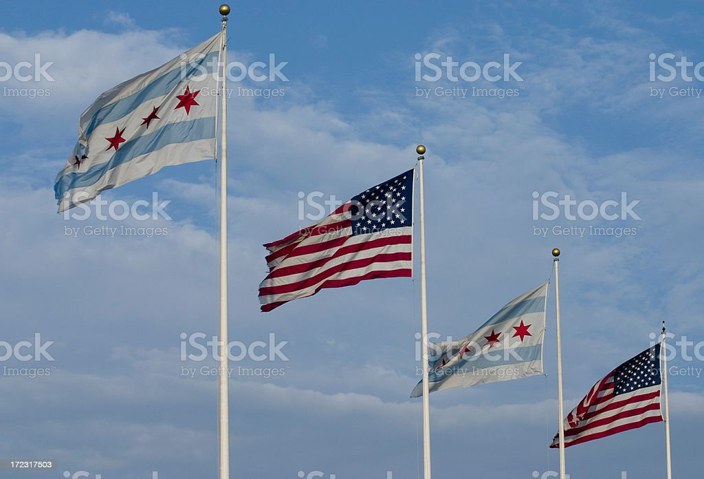Chicago and USA flags royalty-free stock photo