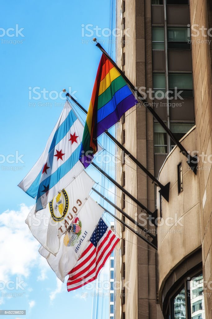 Chicago and USA flags stock photo