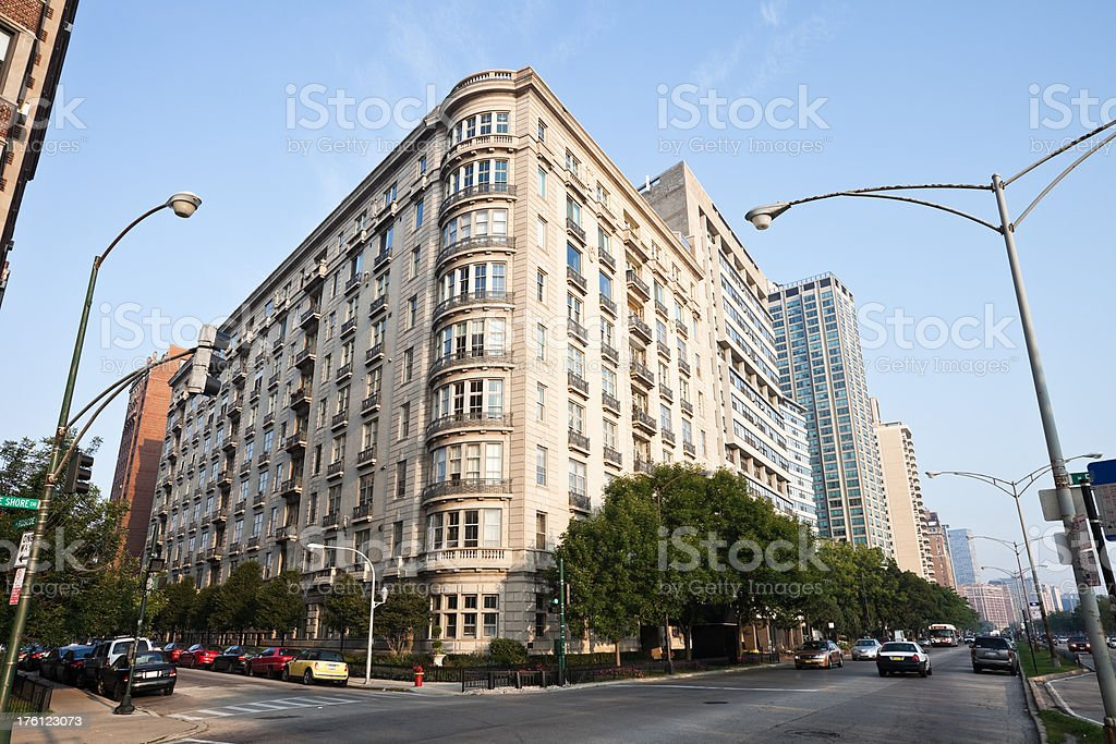 Chicago Apartment Building on Lakeshore Drive royalty-free stock photo