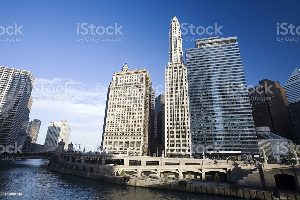 Chicago Architecture on Waker Drive stock photo