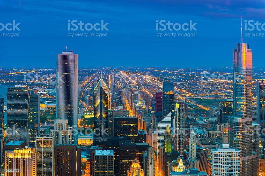 Chicago areal view taken at twilight royalty-free stock photo