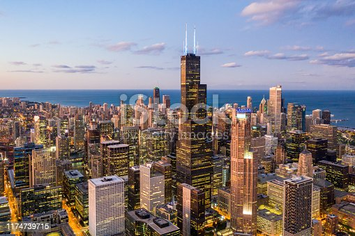 Chicago at Dusk - Aerial Cityscape