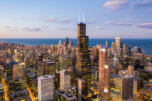 Chicago at Dusk - Aerial Cityscape Chicago at Dusk - Aerial Cityscape chicago stock pictures, royalty-free photos & images