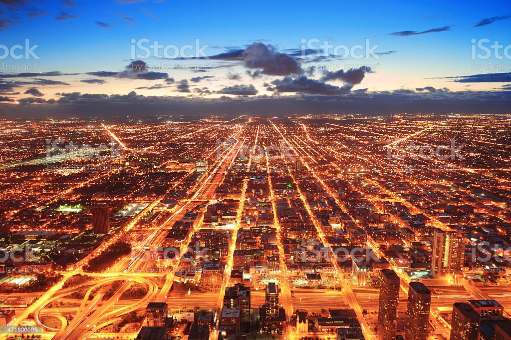 Chicago at dusk stock photo