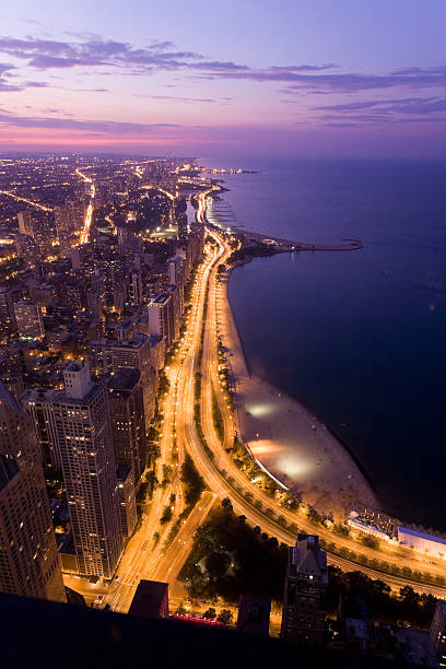 chicago at night - lakeshore stock photos and pictures