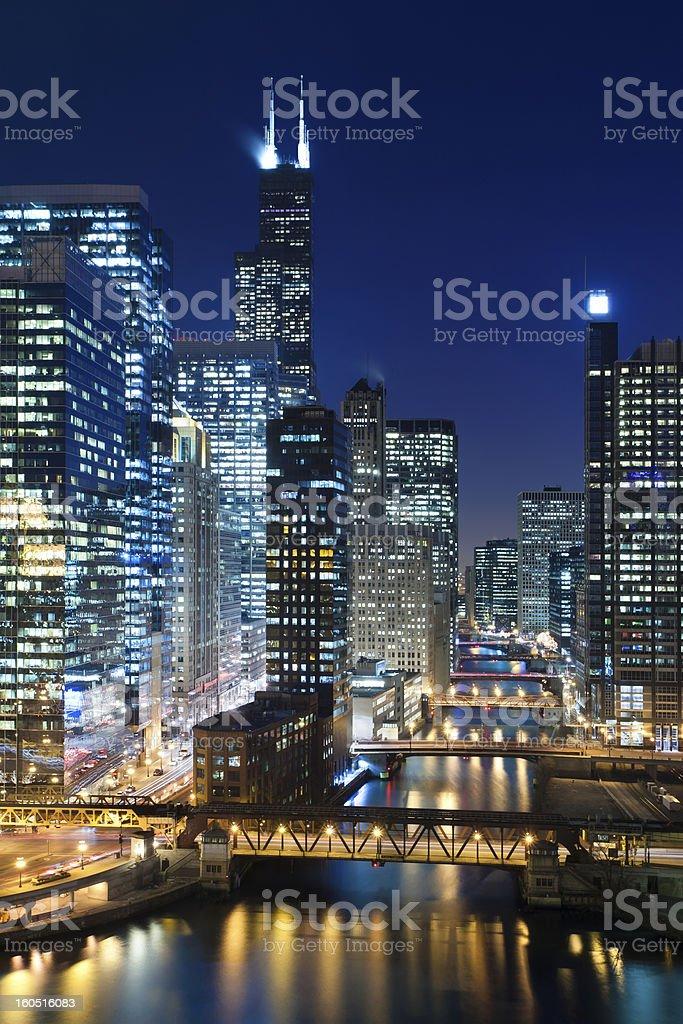Chicago at night. stock photo