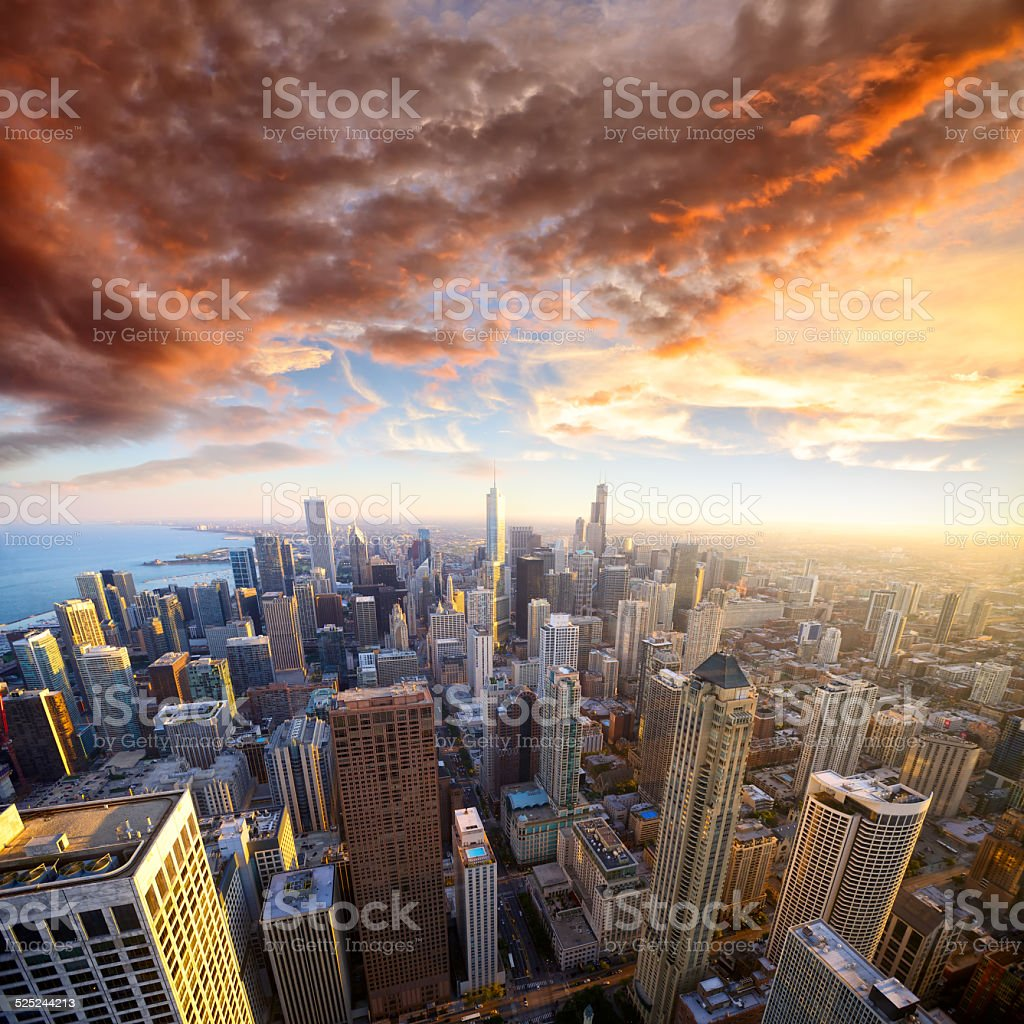Chicago at sunset stock photo