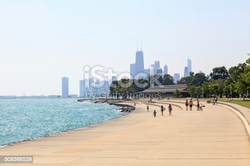 View of the beachfront, Lake Michigan and the silhouette of buildings in Downtown Chicago