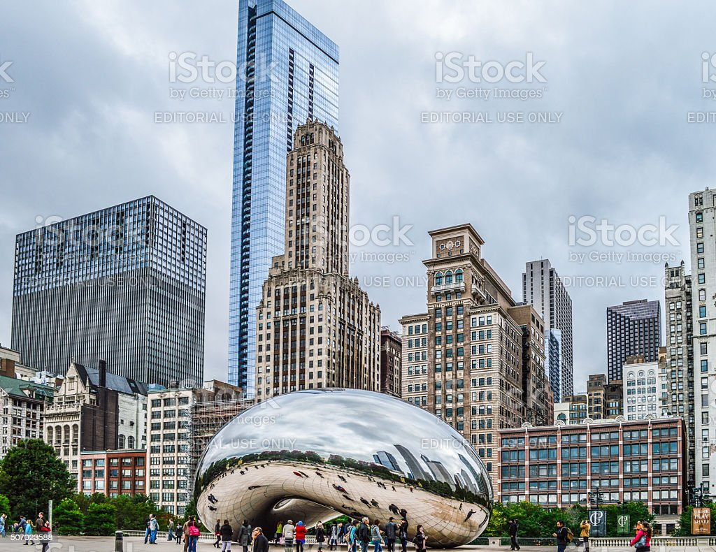 Chicago Bean in Millennium Park with Reflection of Skyscrapers stock photo