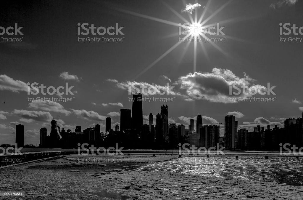 Chicago Black and White Skyline stock photo