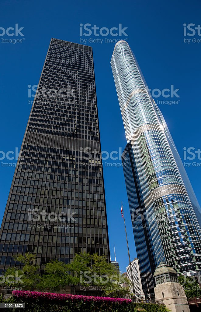 Chicago - Black and White Skyscrapers stock photo