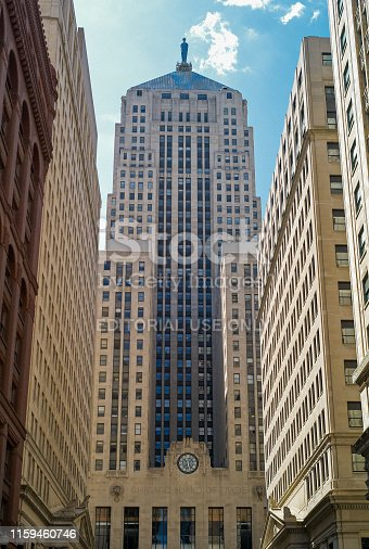 Chicago, Illinois, USA - July 25 2009: Chicago Board of Trade Building. A Skyscraper and National Historic Landmark buildt in 1930.