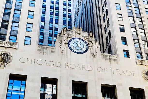 Chicago Board of Trade Clock stock photo