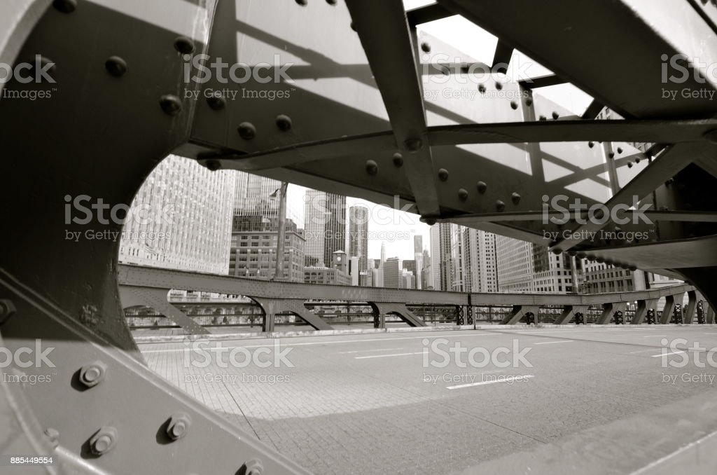Chicago Bridge in the Loop stock photo
