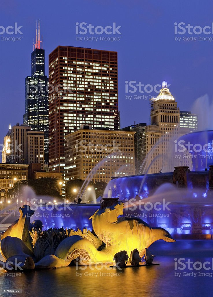 chicago Buckingham fountain blue royalty-free stock photo