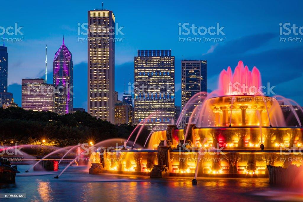 Chicago Buckingham Fountain Grant Park Cityscape stock photo