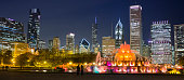 Chicago cityscape panorama from the Clarence Buckingham Memorial Fountain in Illinois USA