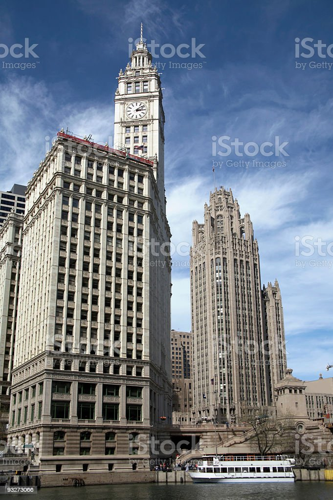 Chicago Buildings - Wrigley and Tribune royalty-free stock photo