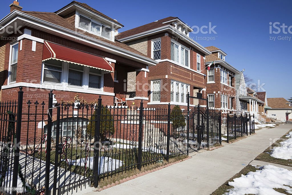 Chicago Bungalow and Vintage Houses royalty-free stock photo