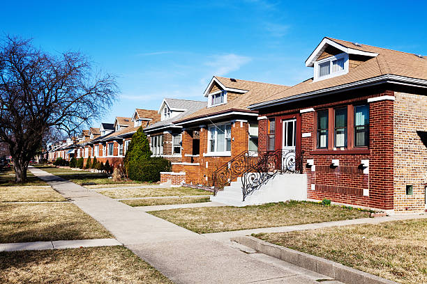 Chicago Bungalows in a Southwest Side Neighborhood  bungalow stock pictures, royalty-free photos & images