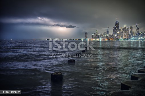 Chicago by Lake Michigan during a lightning thunderstorm at night