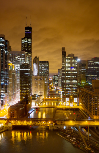 Chicago By Night Stock Photo - Download Image Now
