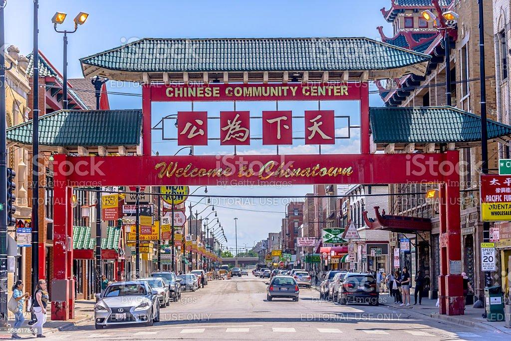 Chicago Chinatown stock photo