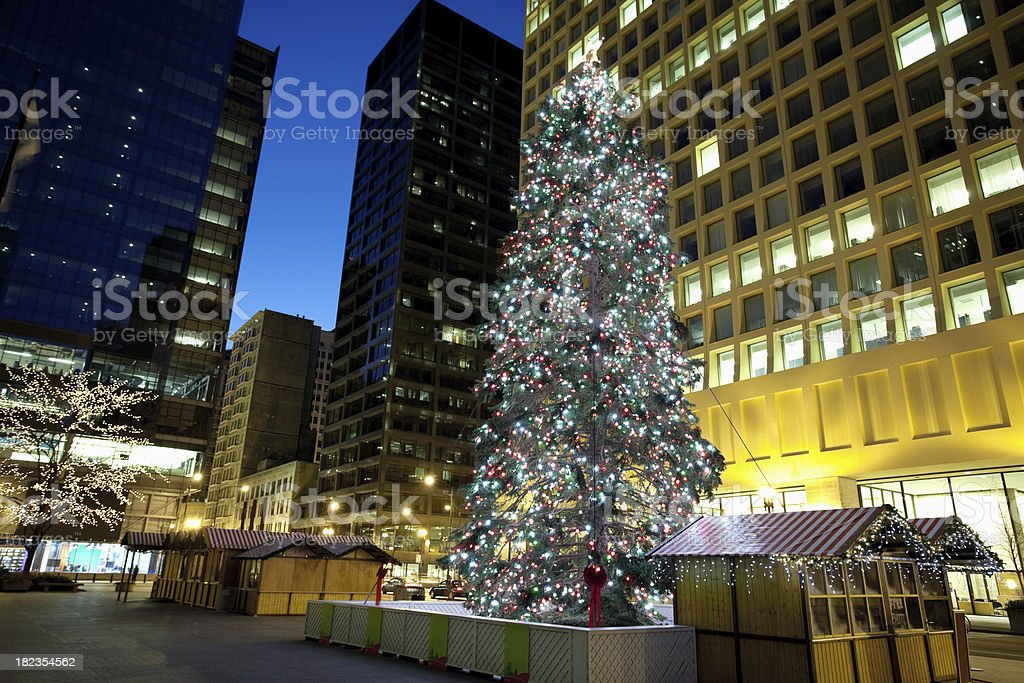 Chicago Christmas Tree at Daley Plaza royalty-free stock photo