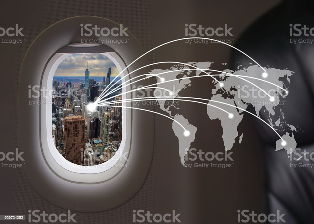 Chicago city at airplane windows with world connection stock photo