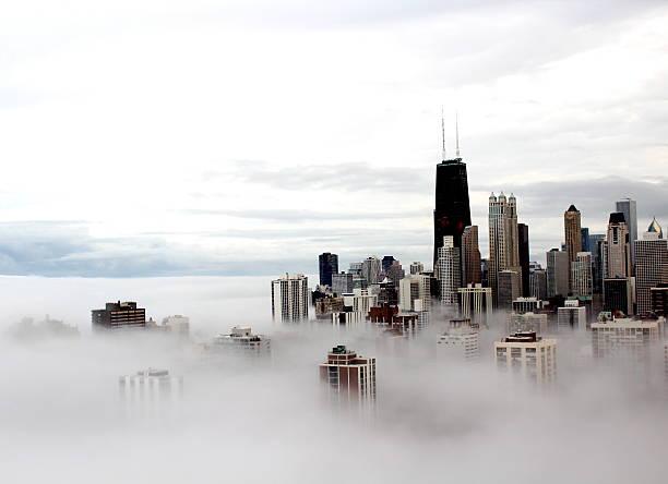 chicago city buildings in the clouds - waldmalerei stock-fotos und bilder