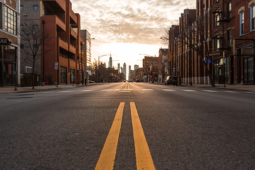 Chicago City empty streets under the coronavirus. City under lockdown.
