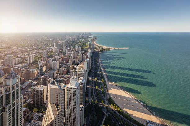 Chicago City Lake Michigan Waterfront Aerial View – Foto