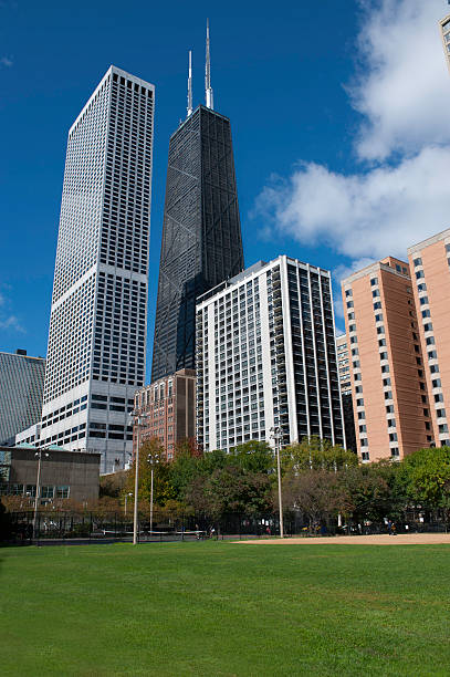 Chicago city park with Skyscrapers stock photo